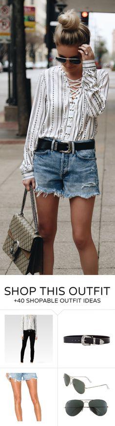 #spring #fashion  White Striped Blouse & Denim Short & Grey Printed Shoulder Bag