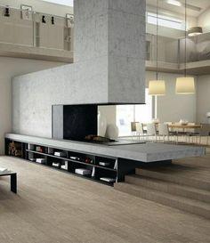 shelves under split-level fireplace.
