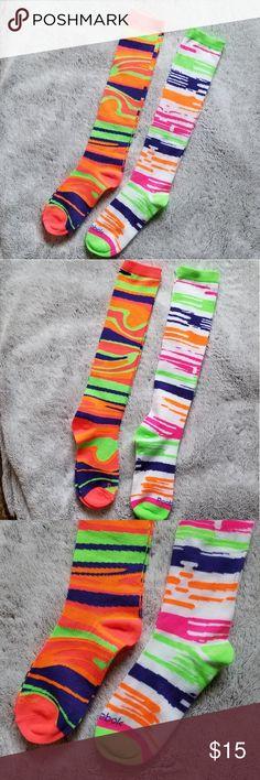 2cc24b441 NWOT Reebok knee-high socks neon colors NWOT set of 2 Reebok knee-high