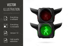 Pedestrian traffic light. Human Icons. $5.00