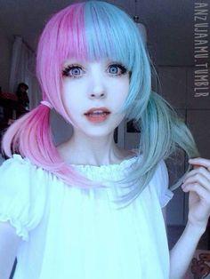 ☆ Anz u  J a a m u  ☆゚.*・。゚ Half Pink & Half Blue Hair ♡