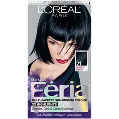 L'Oreal Paris Feria Multi-Faceted Shimmering Color - 21 Bright Black - 1 kit