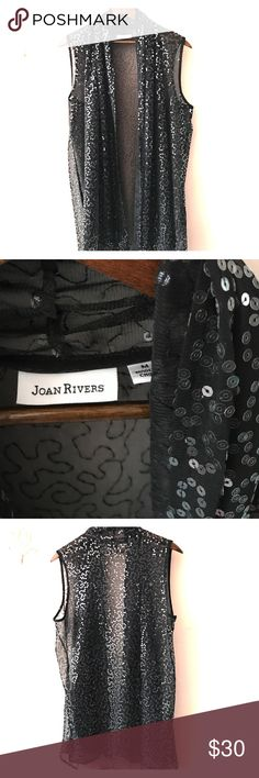 """🌟🌟 Stunning Joan Rivers Glam Vest NWOT ⭐️⭐️ NWOT Elegant Joan Rivers sequined sleeveless vest. Long-32"""" from the shoulder. Shawl collar drapes beautifully.  Never worn. Joan Rivers Other"""
