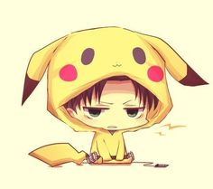 chibi Levi. A very angry looking chibi Levi in a pikachu costume. Seriously,this is adorable.