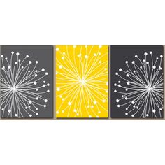 DANDELION Wall Art, CANVAS or Prints Gray Yellow Bedroom, Bathroom... ❤ liked on Polyvore featuring home, home decor, wall art, blossom wall art, flower stem, yellow canvas wall art, 3 piece canvas wall art and flower picture