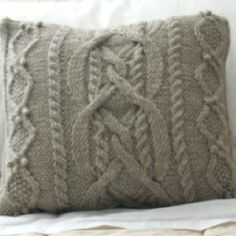 Cable knit pillow. love! different color for living room