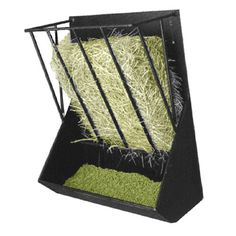 Dark Horse Tack is proud to offer... Metal Hay and Grain Feeder Hot rolled steel with heavy duty steel rod. Drilled to mount on wall or fence. Dip painted black. Smooth edges and welds. Holds 1/3 bale