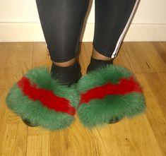 b38aa70bafd SALE Gucci inspired fox fur slipper slides slippers Genuine fox furry Slip  On Fluffy flats