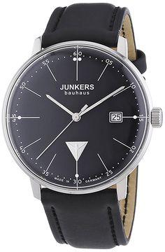 Montre Homme Junkers Bauhaus 60702 - Quartz Chronographe - Cadran Acier inoxydable Argent - Bracelet Cuir Noir - Date