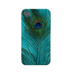 Two Aqua Peacock Feathers Case-mate Iphone 4 Cases by Peacocks