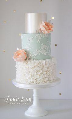 Peach Roses, Lustre, Ruffle & Lace Wedding Cake