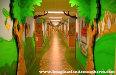 Children's Church Bible Story Murals in a Woodland Setting. www.ImaginationAtmospheres.com