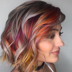 """80 kedvelés, 3 hozzászólás – The Salon Center Rep (@richrose88) Instagram-hozzászólása: """"Repost @kateloveshair 🎇Bursts of color 🎆 . . . . . Silver: @kenraprofessional SV Colors:…"""""""