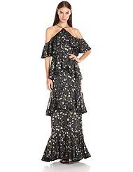 Online shopping for Winter Wedding Guest from a great selection at Clothing, Shoes & Jewelry Store. Winter Wedding Guests, Cynthia Rowley, Ruffles, Floral Prints, Cold Shoulder Dress, Gowns, Womens Fashion, How To Wear, Shopping
