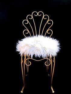 Vintage Hollywood Regency Gold Metal & Faux Fur Vanity Stool