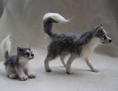 OOAK Miniature Husky Dog Mother & Puppy - Winter Walk - by Malga