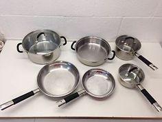 Tramontina 18 10 Stainless Steel 9 PC Cookware Set Pots Pans Skillets Lids | eBay