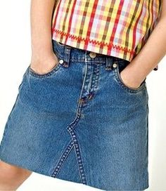 Skirting the Pants.Turn your daughter's outgrown jeans into a trendy no-sew denim skirt. Source by vintagefrompaul Jeans Diy Jeans, Sewing Jeans, Recycle Jeans, Sewing Clothes, Diy Clothes, Clothes Women, Upcycle, Jean Diy, How To Make Skirt