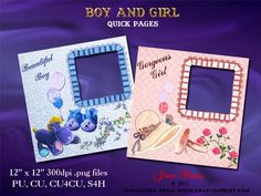 """Baby Boy and Girl on Craftsuprint designed by June Young - Two pages for a baby boy and a baby girl. Each page has a ruffled edged frame for the photo and is decorated with toys and flowers in toning shades. The sheets are 12"""" x 12"""" at 300dpi and are .png files so your photo will just slip in. They can be reduced in size or can be used for card making as well as for scrapbooking. - Now available for download!"""