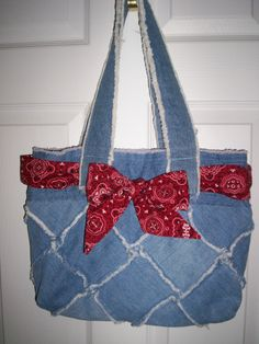 Old jeans recycled into a tote.