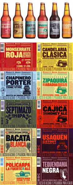 Bogotá Beer Company. #beer #cerveza #design diseño Beer Company, Bbc, Wine And Beer, Beer Brewing, Craft Beer, Brewery, Whiskey Bottle, Liquor, Packaging