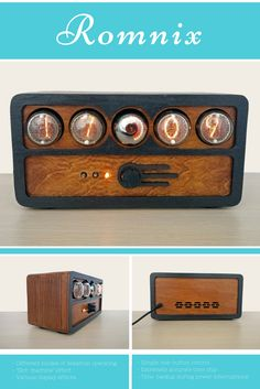 Vintage Nixie Clock based on four IN-4 nixie tubes and OG-4 dekatron in a wooden case