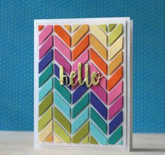 SSS-Chevron Pattern ful card die by Laura Bassen. Cool Cards, Diy Cards, Chevron Cards, Rainbow Card, Karten Diy, Card Making Inspiration, Card Maker, Card Sketches, Paper Cards