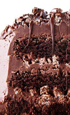 Decadent Chocolate Layer Crunch Cake recipe #BiteMeMore