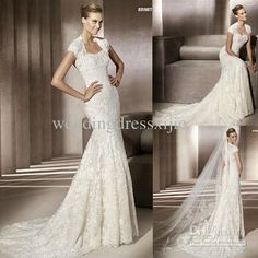 Wholesale 2012 Stunning Best Lace Wedding Dresses With Sleeves Strapless Jacket Court Train Applique Mermaid, Free shipping, $179.2~218.4/Piece | DHgate Mobile