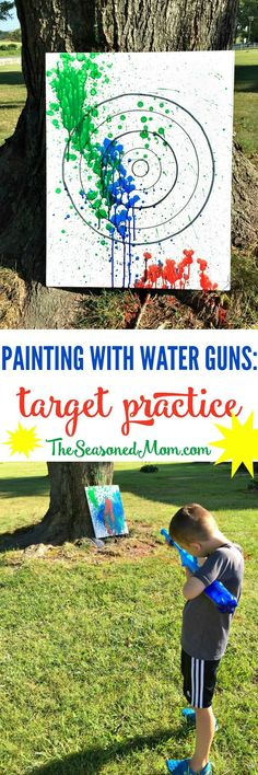 Painting with Water Guns: Target Practice! Have a BLAST with this fun outdoor activity for kids! My boys loved Painting with Water Guns while aiming at a target. It's the perfect summertime camping game, party game, or kids' summer camp activity! Summer Camp Activities, Outdoor Activities For Kids, Summer Games, Outdoor Kids Parties, Activities For Youth, Camping Games For Kids, Outdoor Fun For Kids, Women Camping, Outdoor Toys