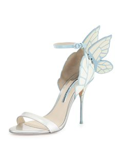 """Sophia Webster calf leather d'Orsay sandal from the Bridal Collection. 4"""" stiletto heel. Metallic toe strap. Scalloped heel counter. 3D butterfly wings extend from backstay. Adjustable ankle strap. Li"""