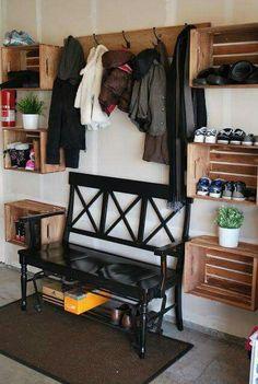 Diy Storage Seat Garage New Ideas Mud Room Garage, Garage Floor Paint, Garage Entry, Garage Doors, Garage Mudrooms, Garage Paint Ideas, Garage House, Dream Garage, Car Garage