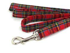 Red Plaid Dog Leash, Tartan Plaid Dog Lead.