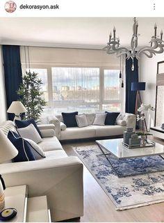 9 Best Living Room Lighting Ideas - Home Bigger Blue Living Room Decor, Elegant Living Room, Home Living Room, Interior Design Living Room, Formal Living Rooms, Living Room Designs, Coastal Living Rooms, Home Room Design, Living Room Inspiration