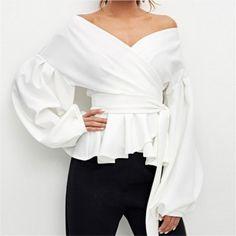 Off Shoulder Shirt, Peplum Blouse, Dress Shirt, Bishop Sleeve, Casual Tops, Shirt Sleeves, Blouse Designs, Shirt Blouses, Like4like