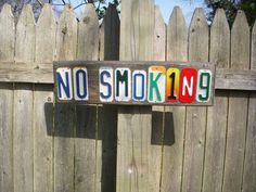 NO SMOKING sign made with recycled lisense plates by jamesnichols, $36.00