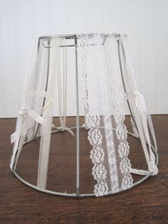 Shabby Chic White Ribbon Lamp Shade Vintage by theopenwindows, $14.99