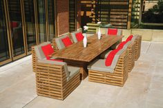 Venetian modular lounge furniture, Sunbrella cushions and Florence double tables #OutdoorFurniture #TableandChairs   https://westminsteroutdoorliving.com/index.php/venetian-middle-seat.html
