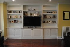 ikea hacks built ins around fireplace Built In Tv Unit, Built In Tv Cabinet, Built In Entertainment Center, Built In Cabinets, Tv Cabinets, Custom Cabinets, Built Ins, Kitchen Cabinets, Kitchen Shelves