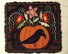 Primitive Needle Punch Mat PATTERN Fall Crow & Pumpkin Full Of Flowers