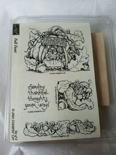 Stampin Up FALL FEAST Mouse House MICE PUMPKIN  Retired Rubber Stamp Set 2003 #StampinUp