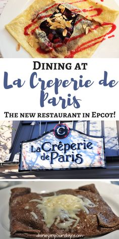 La Creperie de Paris - Disney in your Day. There's another new place to eat in Epcot! The new crepe restaurant located in the Ratatouille section of the France pavilion offers a table service meal that's currently walk-up only with the most delicious savory and dessert crepes, plus authentic French ciders and beverages with a prix fixe menu to try it all! Take a look at the delicious items waiting for you inside of La Creperie de Paris.