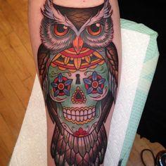 Owl & sugar skull tattoo done by Kim Saigh.