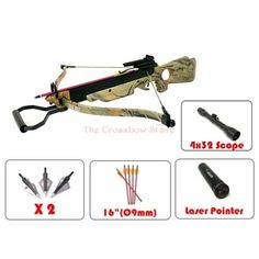 Deal of the Day: $119.99 for 150lb Wizard Camouflage Green Hunting Crossbow Laser Hunting Ready Package. #Camouflage #Arrows #Broadheads #LaserSight.