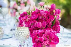 Pink centerpiece | Design: 2Create Designs | Photography: Lin & Jirsa | Venue: Santiago Canyon Mansion |  See the full wedding: http://www.xaazablog.com/romantic-pink-ombre-wedding/ #pinkwedding #pinkombre #weddingflowers