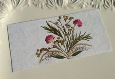 Pink  Handmade Pressed Flowers Card by ShakaBaba on Etsy, $10.00
