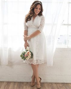 Say yes to forever in a plus size wedding dress that gives you confidence. Browse our plus size wedding dresses and bridal gowns and find the perfect match at Kiyonna Clothing. Flattering Wedding Dress, Wedding Dresses Plus Size, Wedding Dress For Short Women, Plus Size Elopement Dress, Tee Length Wedding Dress, Casual Lace Wedding Dress, Wedding Dress Over 40, Casual Wedding Reception, Casual Wedding Attire