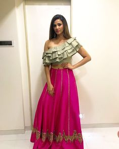 Beautiful @shahdaisy at diwali party wearing beautiful outfit by @dineshmalkani jumki @rianajewellery styling done by @hitendrak