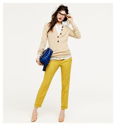 yellow cropped pants.