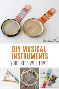 Encourage your kids to be creative with these DIY musical instrument craft ideas! They can make them and then make music with them!